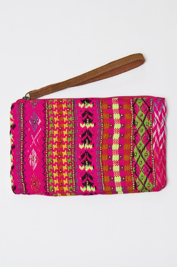 Riviera beaded clutch-Pink combo