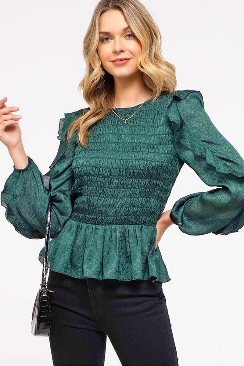 Emerald green ruffle blouse