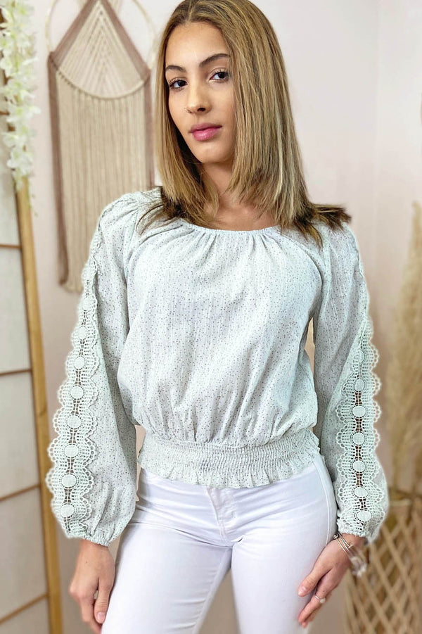 Long sleeve mint blouse