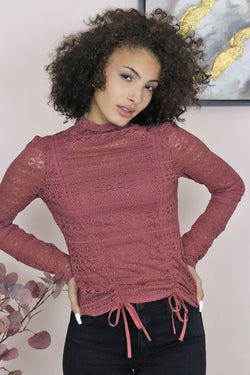 Stretch lace mock neck top