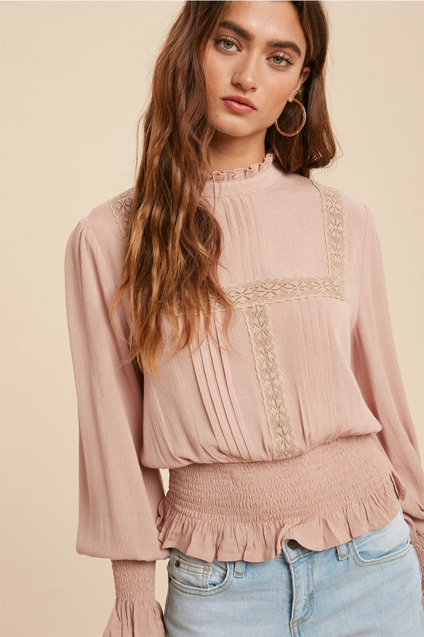 High neck lace inset top