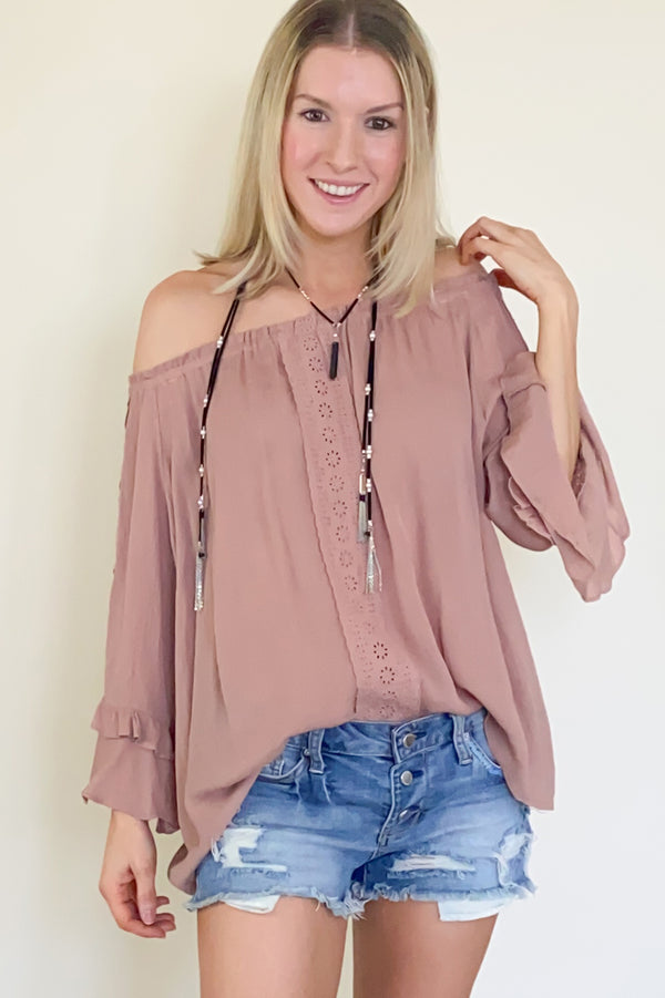 Off the shoulder ruffle top-mauve