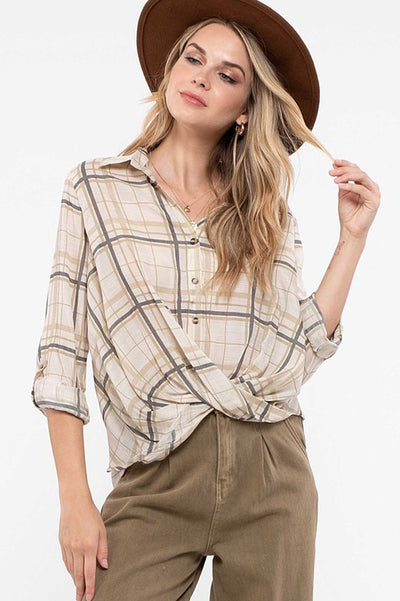 plaid crossover top