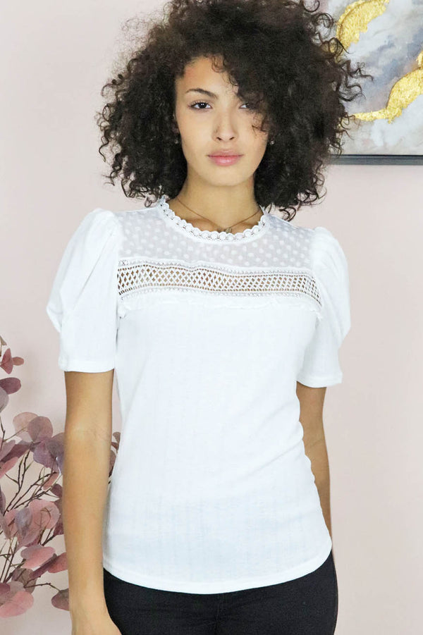 puff sleeve lace yoke tee