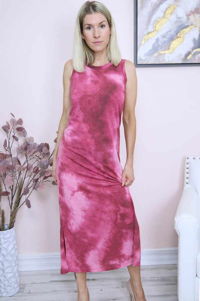red tie dye tank dress