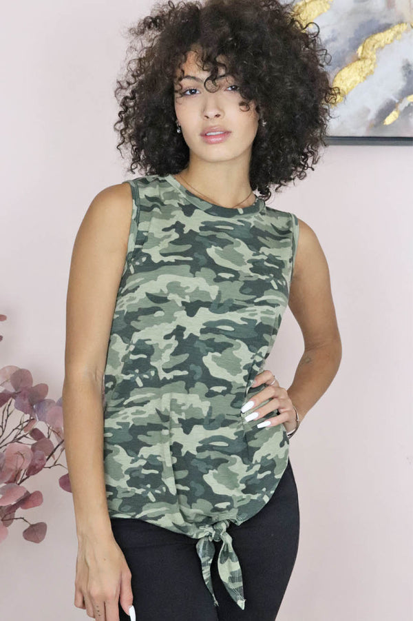 womens camo tie front tank top