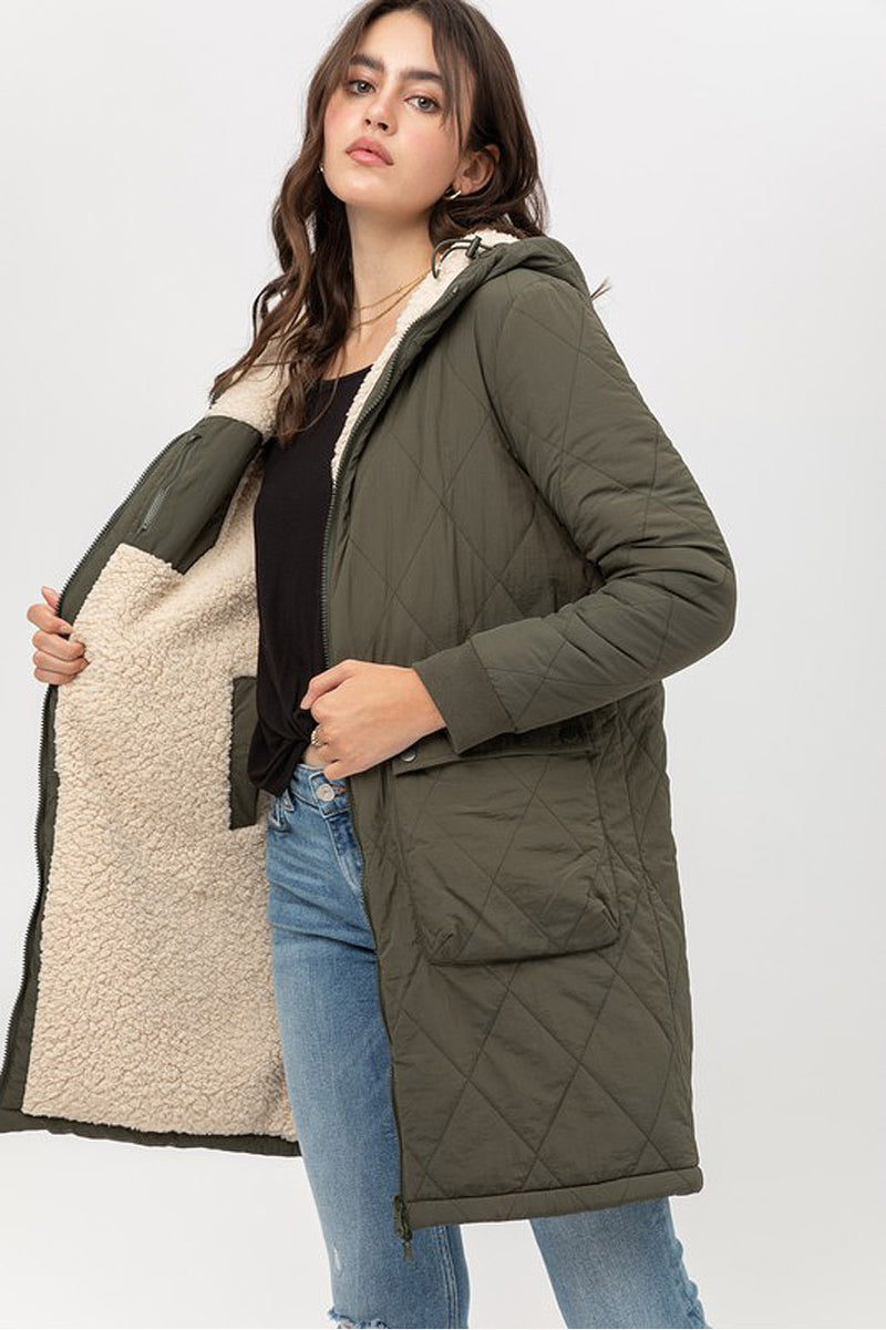 womens quilted sherpa jacket