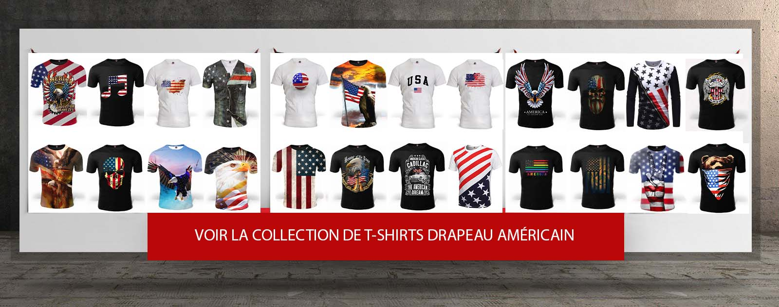 banniere lien vers la collection de t shirts drapeau americain