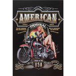 decoration murale pin up sur moto made in usa