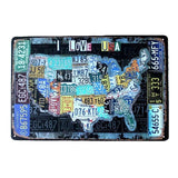 plaque carte amerique i love usa