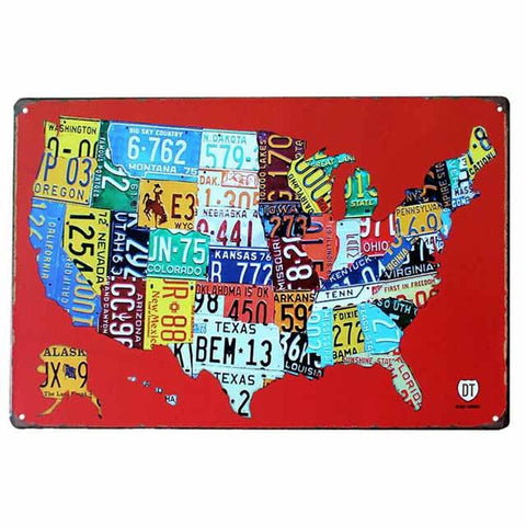 plaque metal carte usa