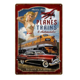 plaque pin up avions trains