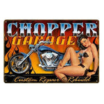 plaque pin up garage moto
