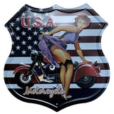 plaque pin up usa motorcycle