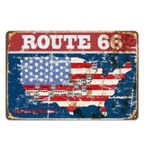 plaque retro carte route 66