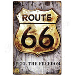 plaque route 66 feel the freedom