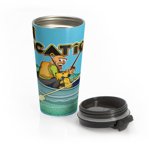 Fishing 15 oz Travel Mug (river blue)
