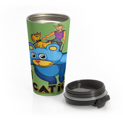 Kite Flying 15 oz Travel Mug (light green)