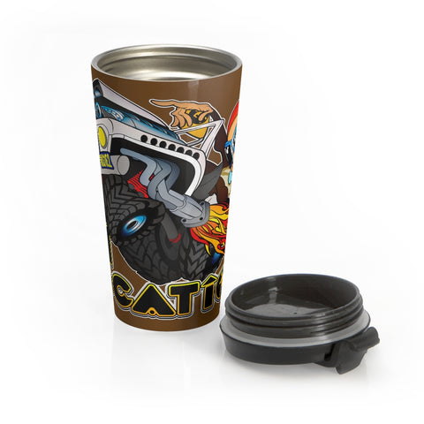 4x4 Rock Crawling 15 oz Travel Mug (dark brown)