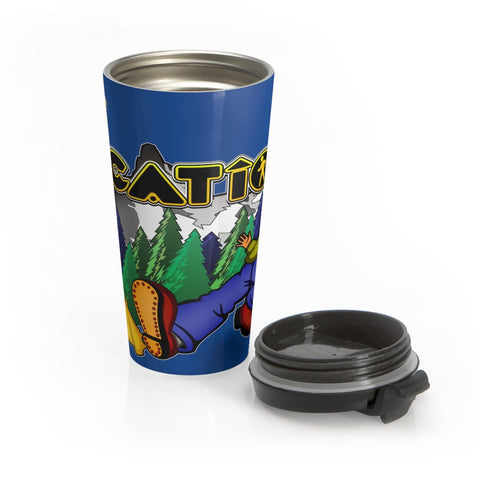 Keep On Hiking 15 oz Travel Mug (dark blue)