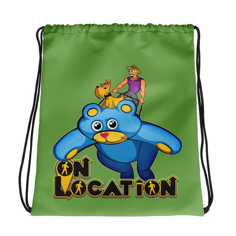Kite Flying Drawstring Bag (light green)
