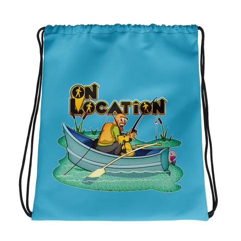Fishing Drawstring Bag (river blue)
