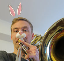 Load image into Gallery viewer, Easter Bunny Nose Brasstache Combo - Includes Clip-on Easter Bunny Nose AND Mustache