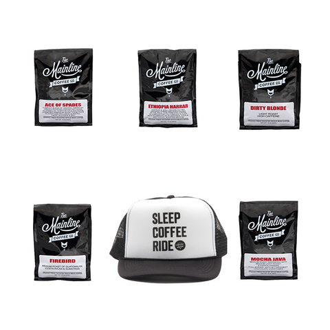Coffee Sample Pack/SCR TRUCKER HAT-BLK/WHT