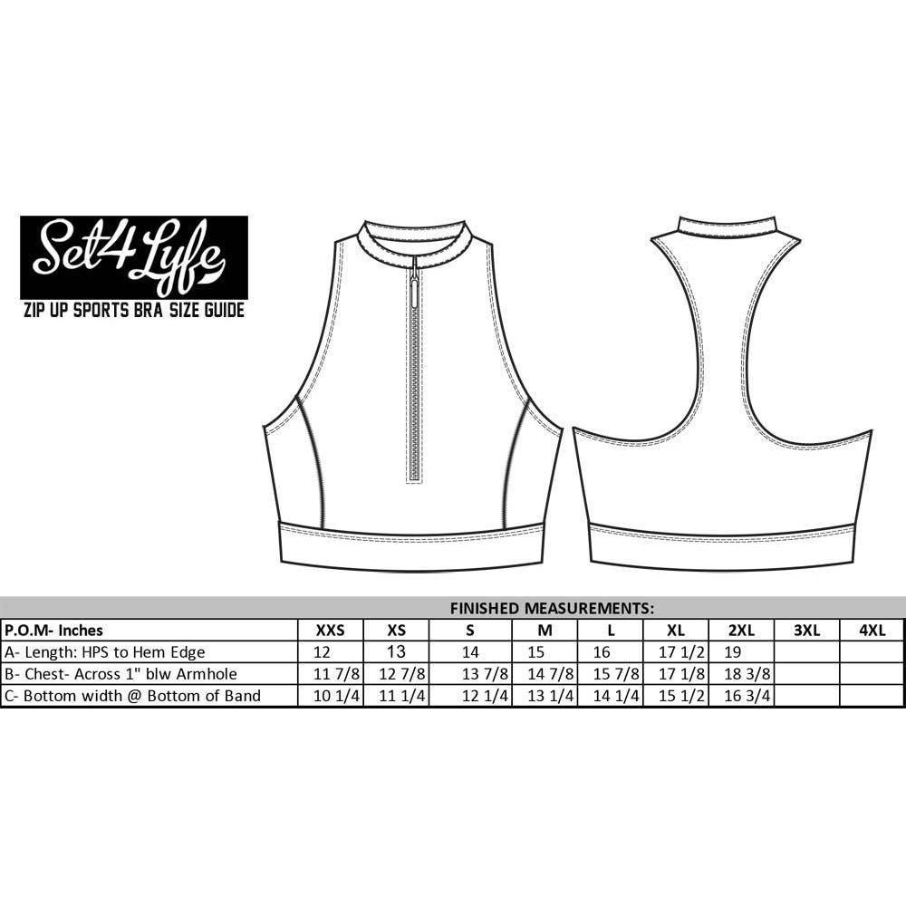 WORD IS WORLD ZIP UP SPORTS BRA