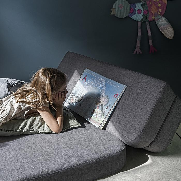 KK 3 Fold Sofa - Grey - reading time
