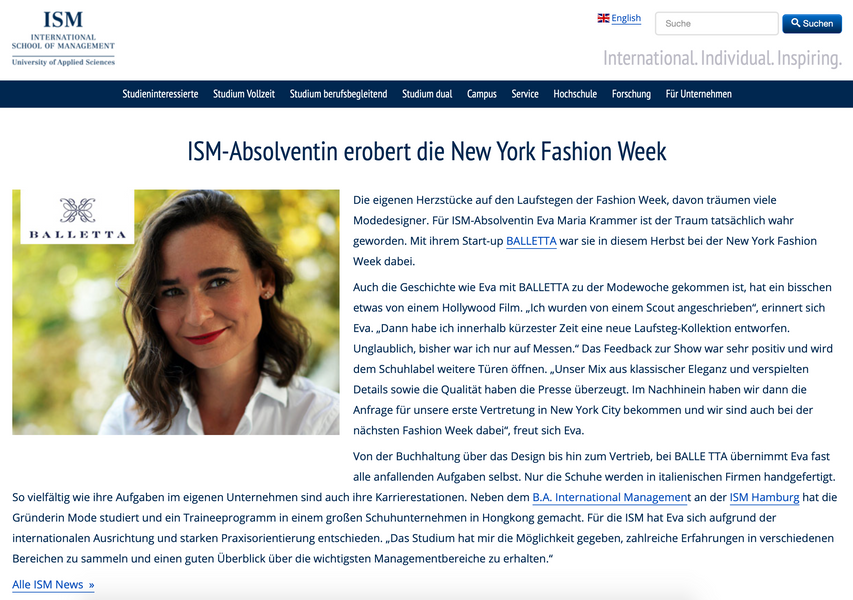 ISM-Absolventin erobert die New York Fashion Week