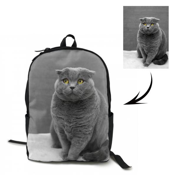 Custom Cat Photo On Backpack