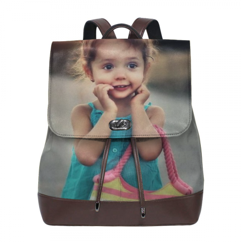 Personalized Women's Leather Photo Backpack