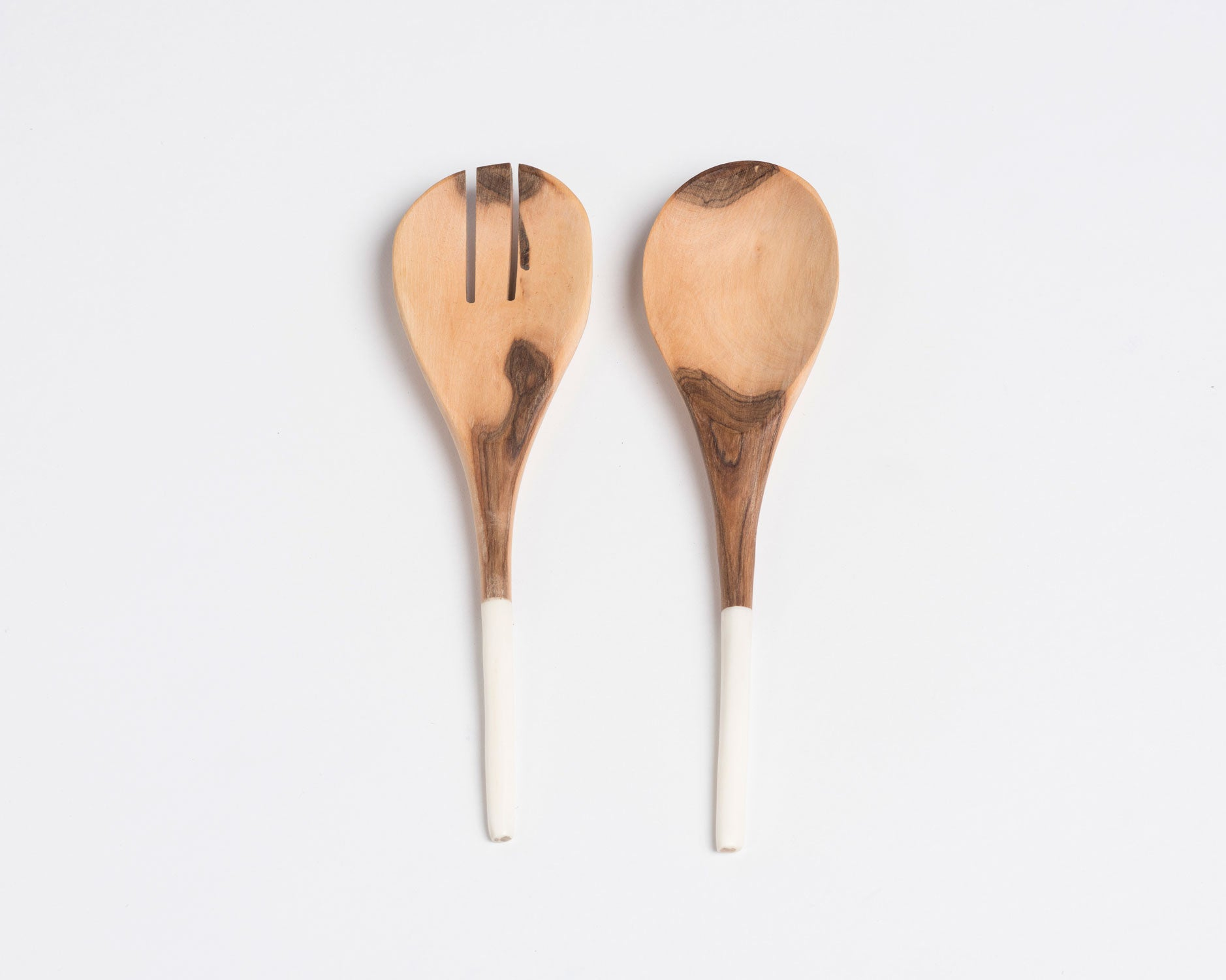 "Wood and Bone Salad Servers - 10"" Plain"
