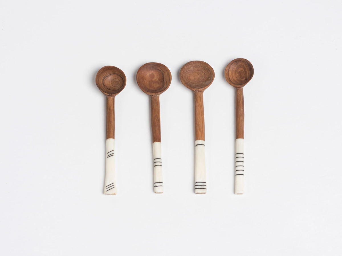 Wood and Bone Sugar Spoon - Lines