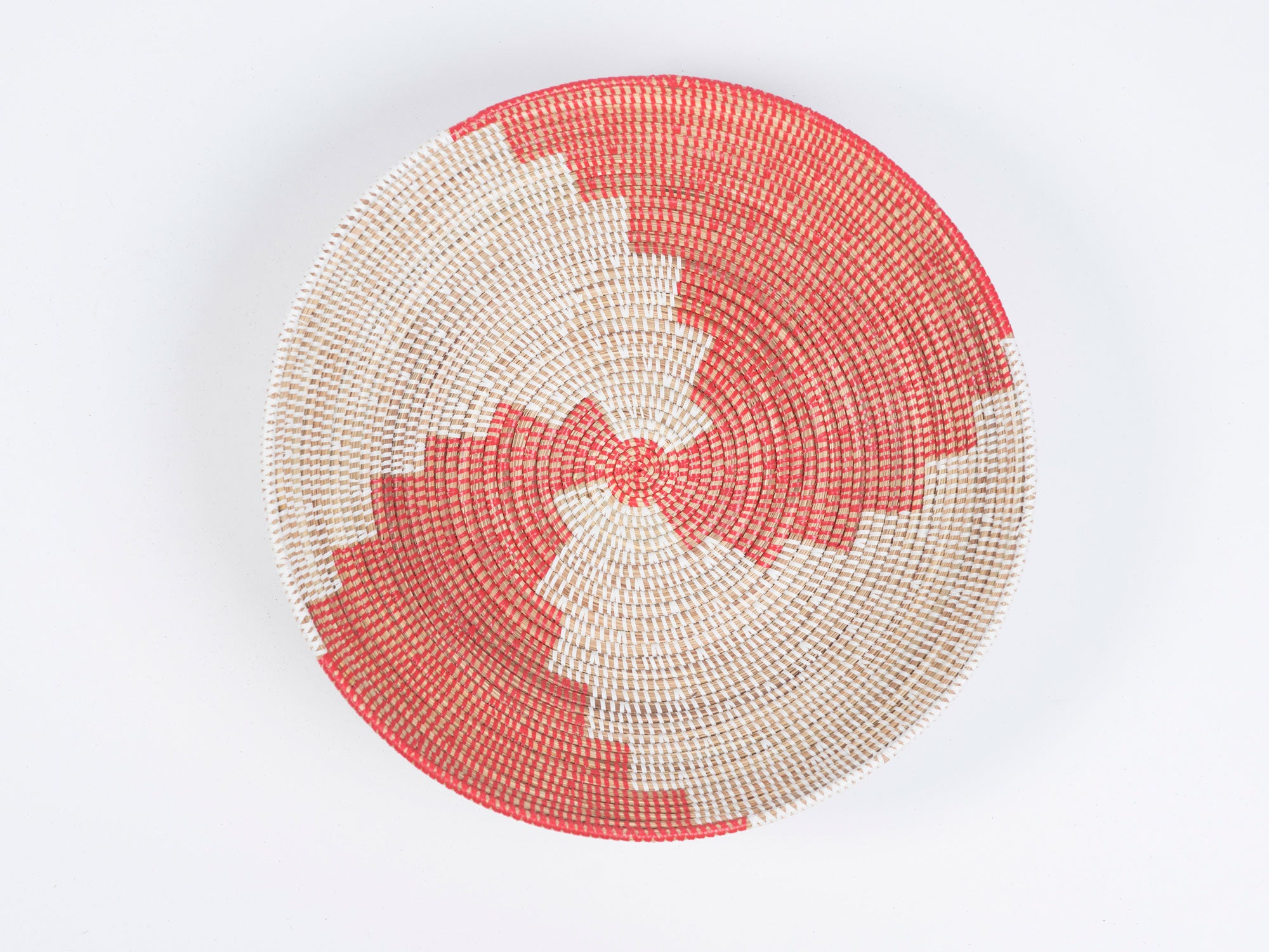 Wolof Basket - Red & White