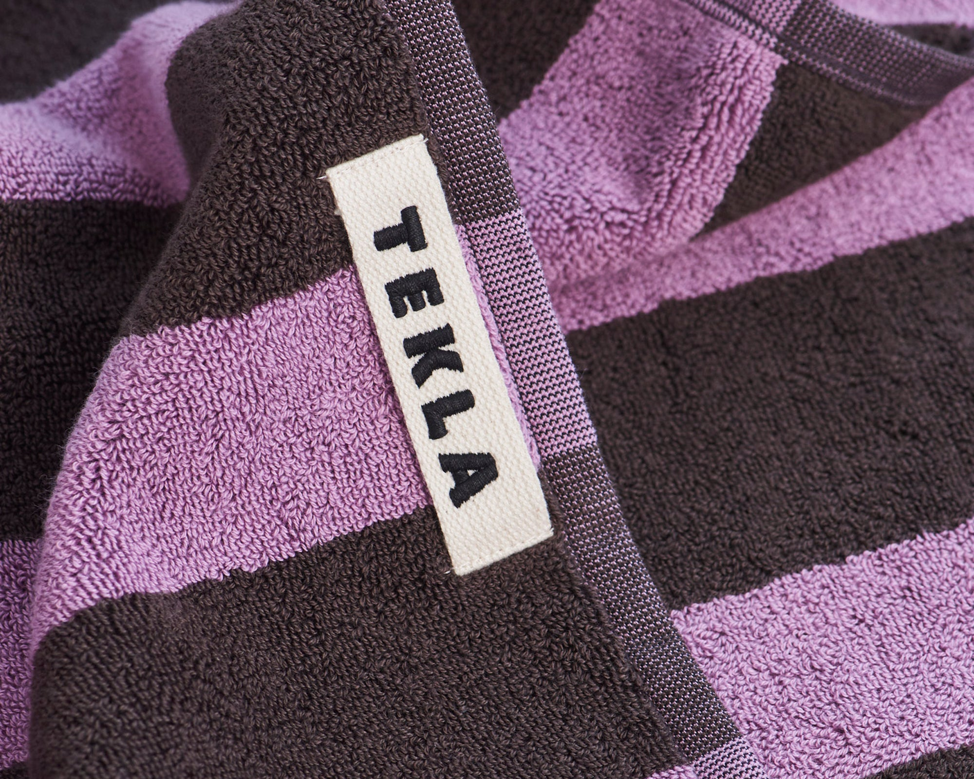 Tekla Organic Cotton Towel - Purple & Brown
