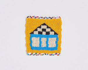 Beaded 'House' Coaster 001