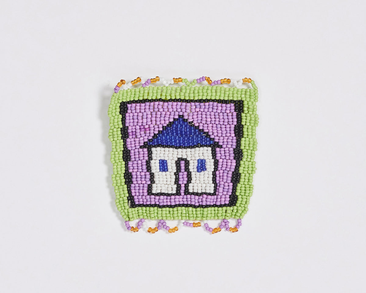 Beaded 'House' Coaster 002
