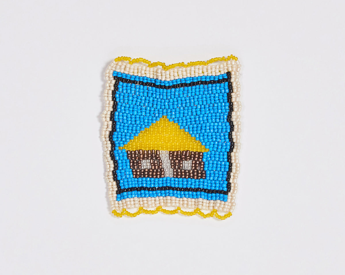Beaded 'House' Coaster 003