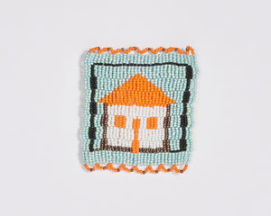 Beaded 'House' Coaster 004