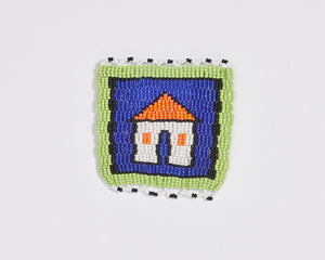 Beaded 'House' Coaster 005