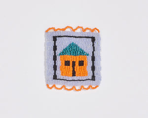 Beaded 'House' Coaster 012