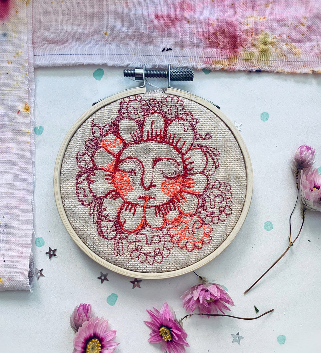 Face Flower Free Motion Embroidery