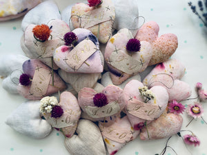 Botanically Dyed XO Hearts, Lavender Scented