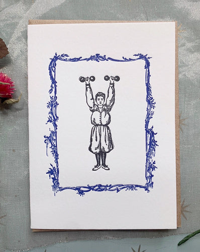 'Strong Girl' Single Greeting Card