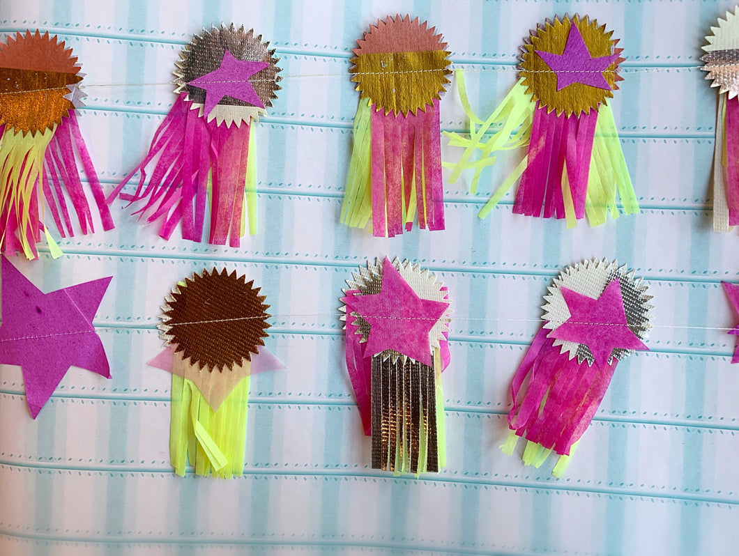 Parcel Stitched Paper Prize Ribbon Garland