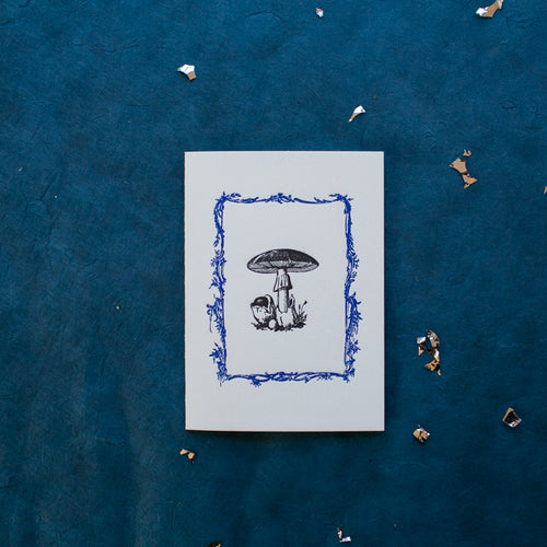 Hand Letter-pressed Mushroom Greeting Card