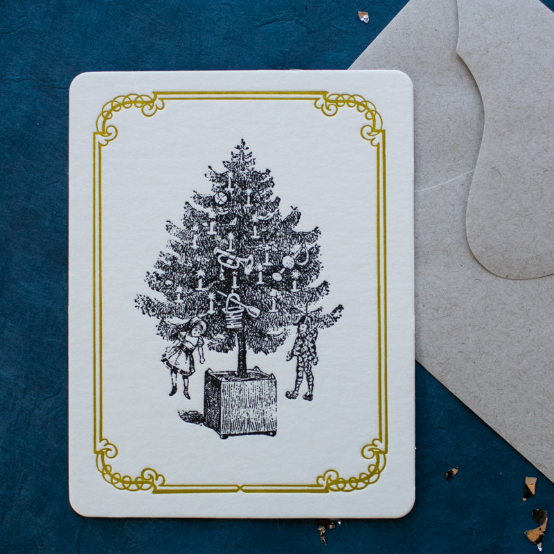 Hand Letter-pressed Christmas Tree Card