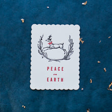 Load image into Gallery viewer, Hand Letter-pressed Peace on Earth Greeting Card